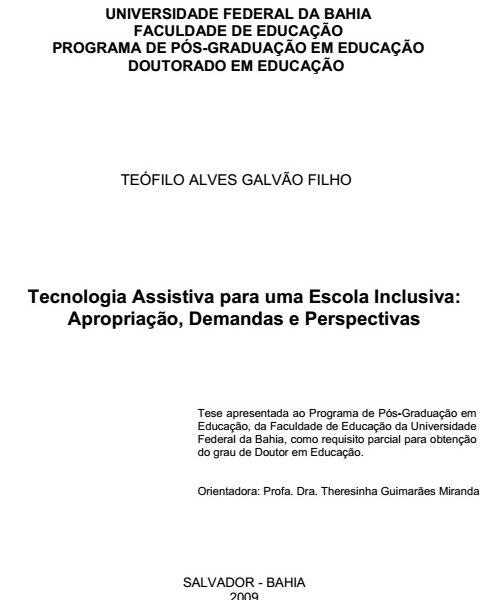 Tecnologia Assistiva para uma Escola Inclusiva: Apropriação